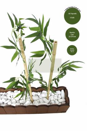 Yapay Çiçek Deposu - Gerçek Bambu Yapay Yeşil Yapraklı 80 cm