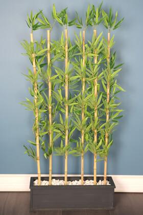 Yapay Çiçek Deposu - Kırçıllı Yaprak 6 Çubuklu Gri Saksıda Bambu Seperatör (20x70x160cm)