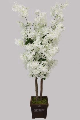 Yapay Çiçek Deposu - Ahşap Saksıda Yapay Yasemin Ağacı 140 cm