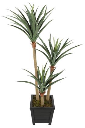 Yapay Çiçek Deposu - Yapay 3 Gövdeli Yucca Ağacı Artificial Foilage 150 cm