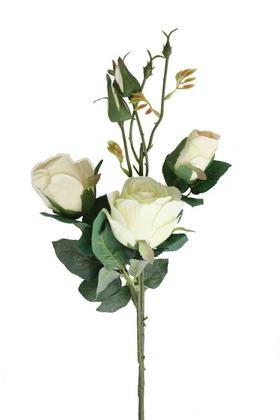 Yapay Çiçek Deposu - Yapay Zarif Goncalı Gül Dalı 52 cm Kırık Beyaz