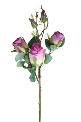 Yapay Çiçek Deposu - Yapay Zarif Goncalı Gül Dalı 52 cm Mor