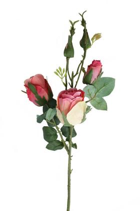 Yapay Çiçek Deposu - Yapay Zarif Goncalı Gül Dalı 52 cm Pembe