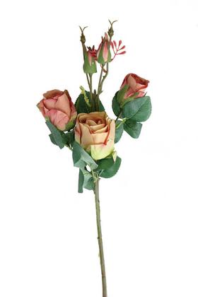 Yapay Çiçek Deposu - Yapay Zarif Goncalı Gül Dalı 52 cm Somon