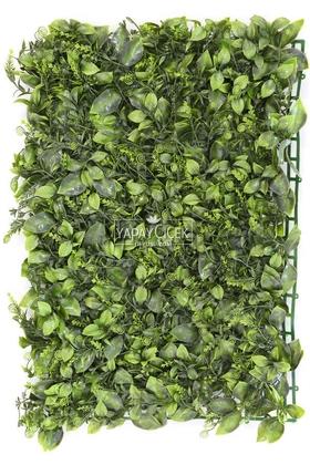 Yapay Çiçek Deposu - Yapay Yaprak Model Duvar Bitki Kaplaması 40x60 cm Yeşil