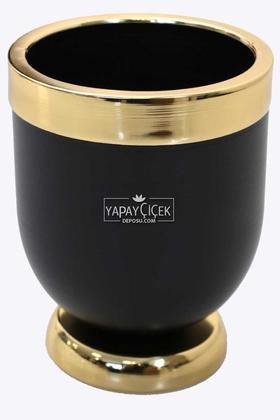 Yapay Çiçek Deposu - Dekoratif Metal Vazo - Saksı Siyah Altın 20 cm