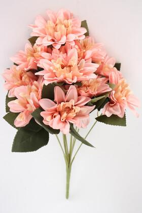 Yapay Çiçek Deposu - Gerçeğe Yakın Dahlia Yıldız Çiçeği 40 cm Somon
