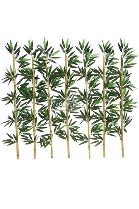 Yapay Çiçek Deposu - Kumaş Yapraklı Doğal Bambu 95-110 cm (7 Adet)