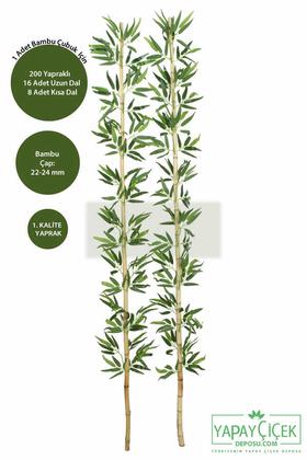 Yapay Çiçek Deposu - 200 cm Yapay 24 Dal Yapraklı Gerçek Bambu