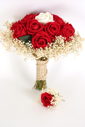 Yapay Çiçek Deposu - Kadife Gül Gelin Buketi 2li Set Kırmızı-Beyaz