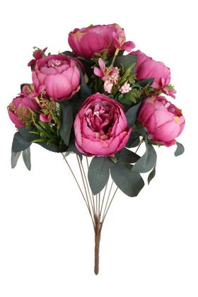 Yapay Çiçek Deposu - Yapay Çiçek 10 Dal Lüx İncili Gül Aranjmanı Koyu Pembe