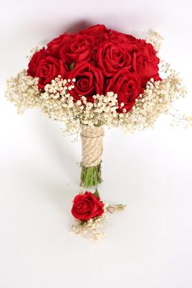 Yapay Çiçek Deposu - Kadife Gül Gelin Buketi 2li Set Kırmızı