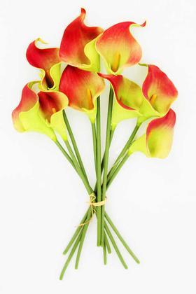 Yapay Çiçek Deposu - Yapay Çiçek Islak Gerçek Gala Çiçeği 9 Dal Fıstık Yeşili-Bordo