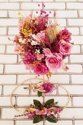 Yapay Çiçek Deposu - Zelena Kuru Çiçek Mor Güller Sümbül Şöleni Gelin Buketi 3lü Set