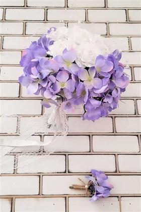 Yapay Çiçek Deposu - Gelin Çiçeği Zevahir Ortanca ve Güller Beyaz Erguvan Rengi 2li Set
